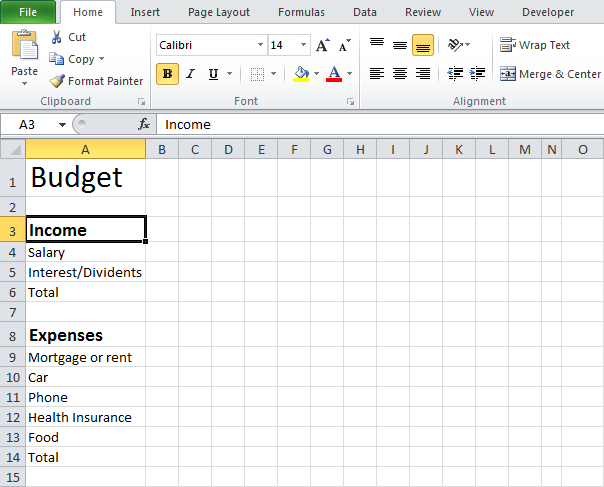 Budgeting Template Excel