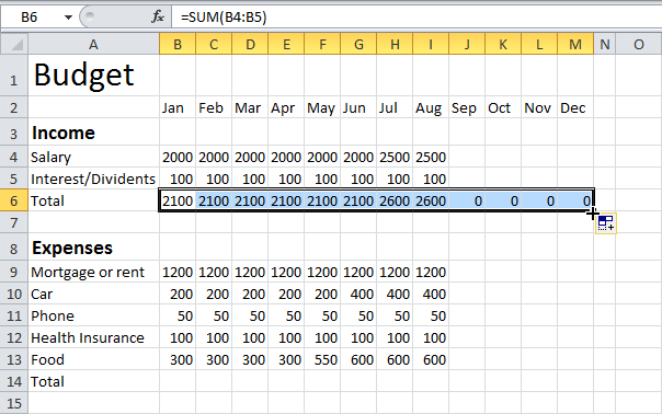how to use excel for a budget