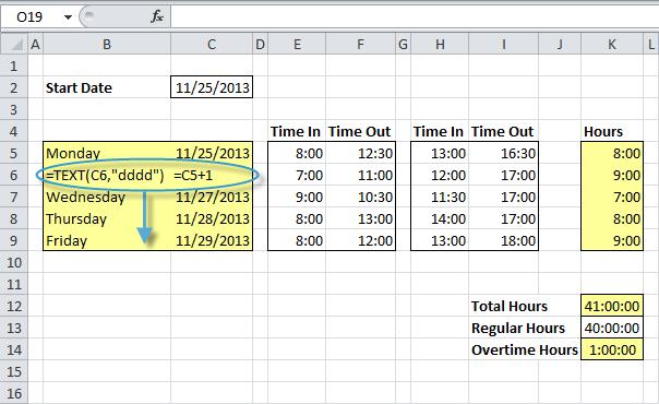 excel timesheet formulas