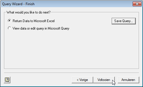 Microsoft Query в Excel