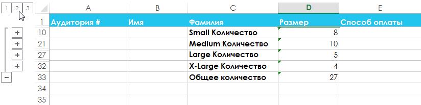 Группы и промежуточные итоги в Excel