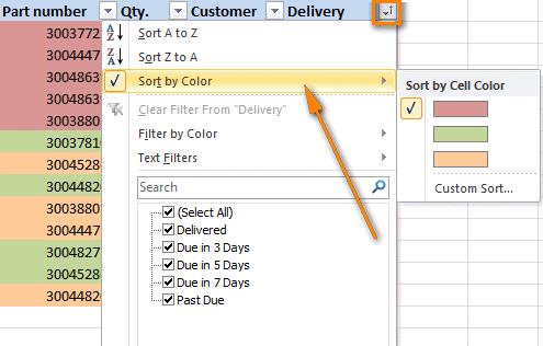 Excel не работает фильтр по цвету