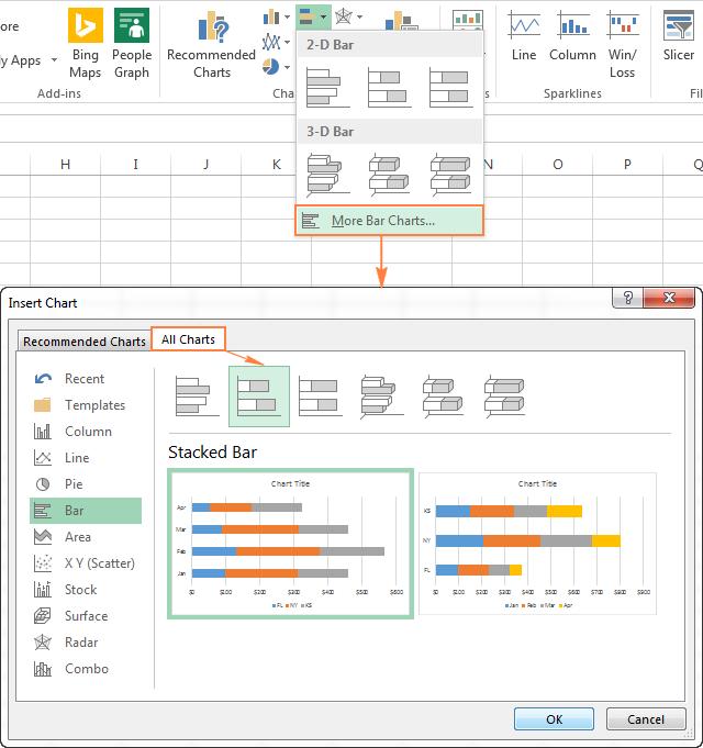 Линейчатая диаграмма в Excel