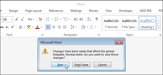 microsoft word normal template