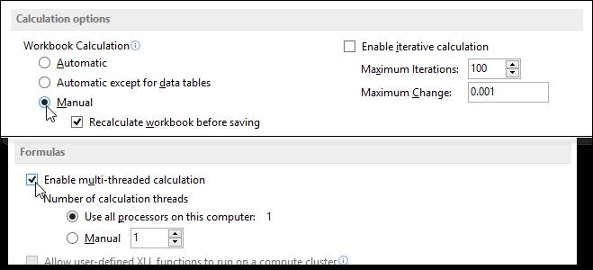 Как управлять режимами автоматических и многопоточных вычислений в Excel 2013