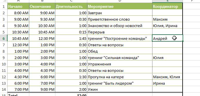 Примечания к ячейкам в Excel