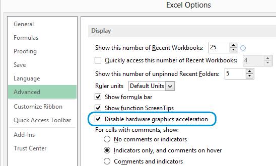 Как отключить анимацию в Excel 2013