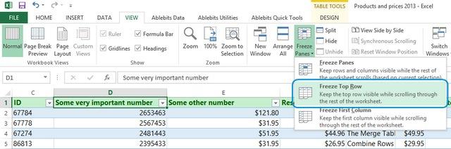 Как закрепить верхние строки в Excel