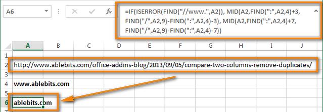 Как быстро извлечь имена доменов из URL в Excel