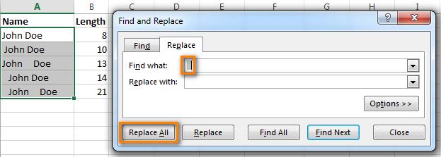 2 способа удалить пробелы между словами или числами в ячейках Excel