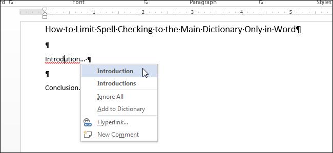 Как в Word установить для проверки правописания использование только основного словаря