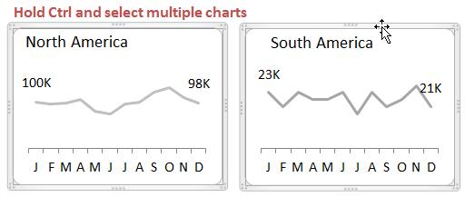 Перемещение диаграмм Excel при помощи клавиш со стрелками