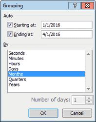 Группировка в сводной таблице Excel