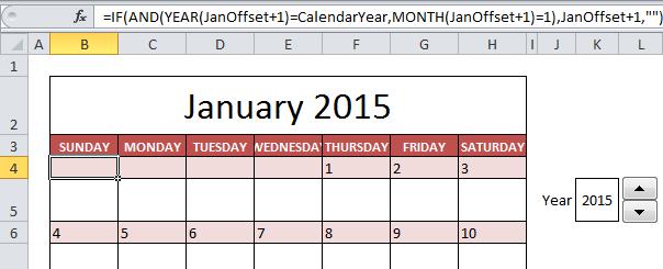 Создать календарь в Excel