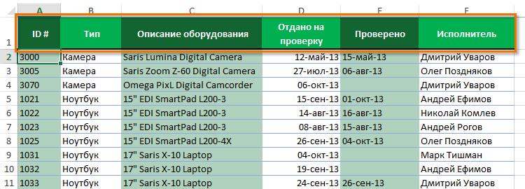Фильтр в Excel