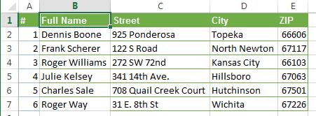 Объединить два столбца в Excel