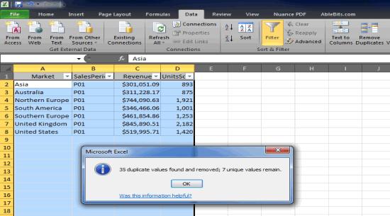 Поиск дубликатов в Excel