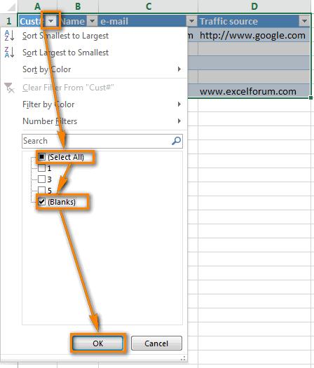 Удаляем пустые строки в Excel