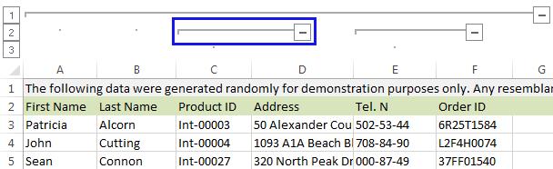 Группировка столбцов в Excel