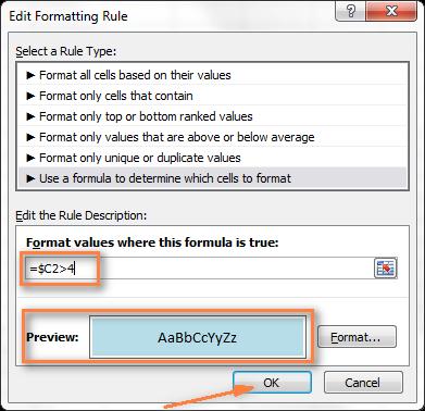 Цвет строки по значению ячейки в Excel