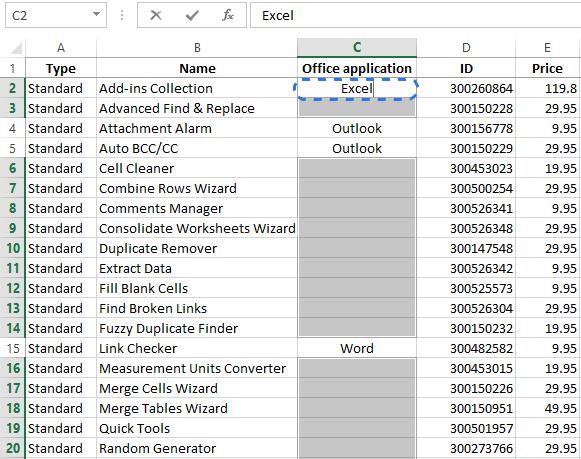 Заполняем пустые ячейки в Excel