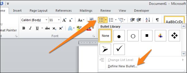 Ставим символ галочки в документе MS Word