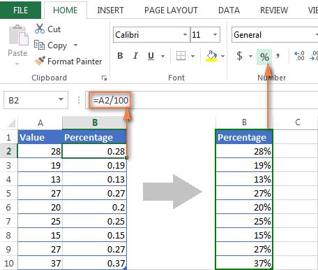Отображение процентов в Excel