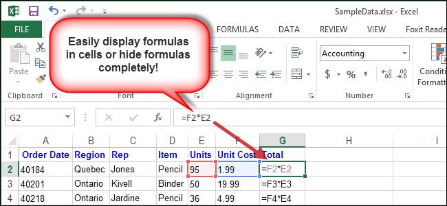 Как показать формулы в ячейках или полностью скрыть их в Excel 2013