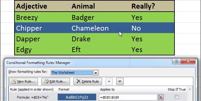 Как выделить строку в Excel, используя условное форматирование