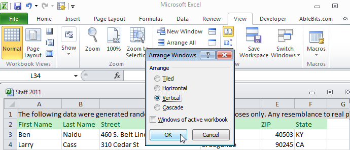 Просмотр рабочих книг Excel рядом