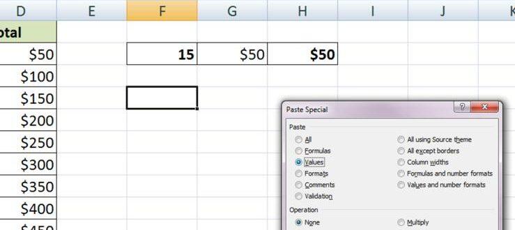 Специальная вставка в Excel: значения, форматы, ширина столбцов