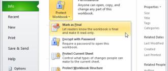 Пометить версию книги Excel как окончательную