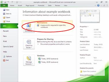Настройки защиты в Microsoft Excel