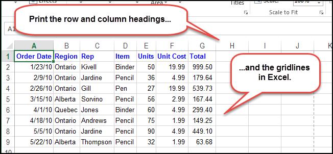 Как в Excel вывести на печать сетку и заголовки строк и столбцов