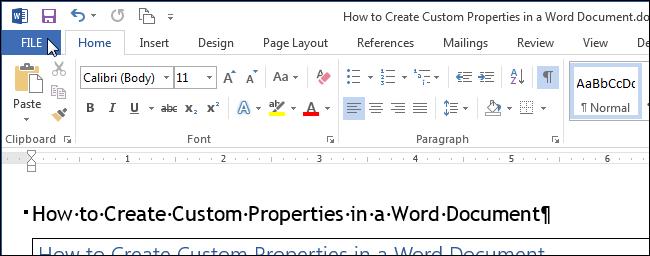 Как добавить пользовательские свойства в документ Word