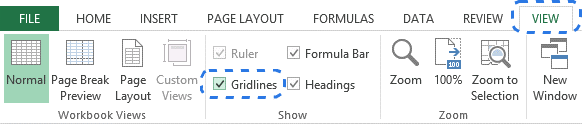 Как в Excel 2010 и 2013 скрывать и отображать сетку