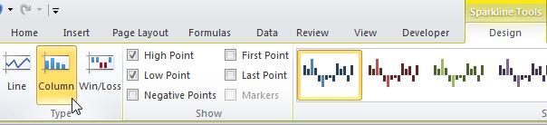 Спарклайны в Excel