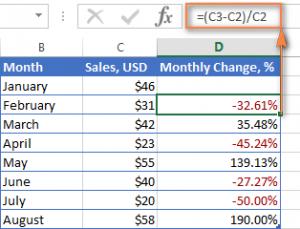 Как вычислить степень коррекции значения в процентном отношении в Excel