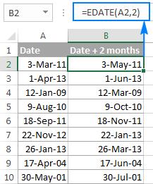Сложение и вычитание дней, недель, месяцев и лет в Excel