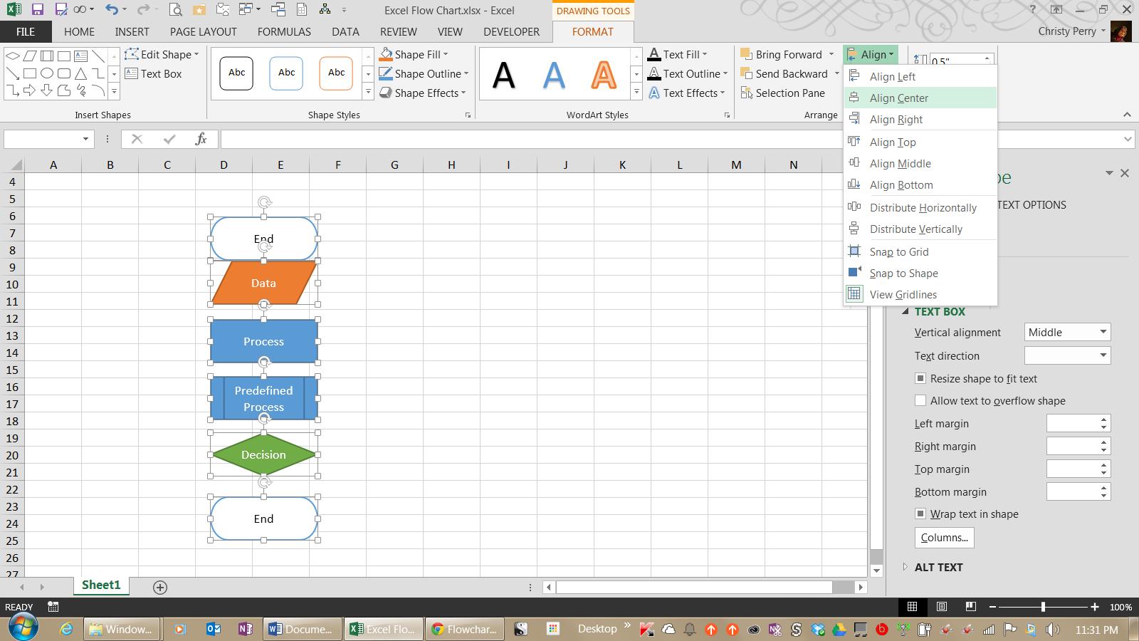 Создание блок-схем в Excel