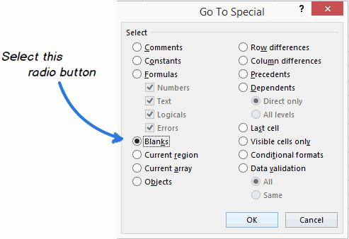 Как заполнить пустые ячейки верхними значениями в Excel