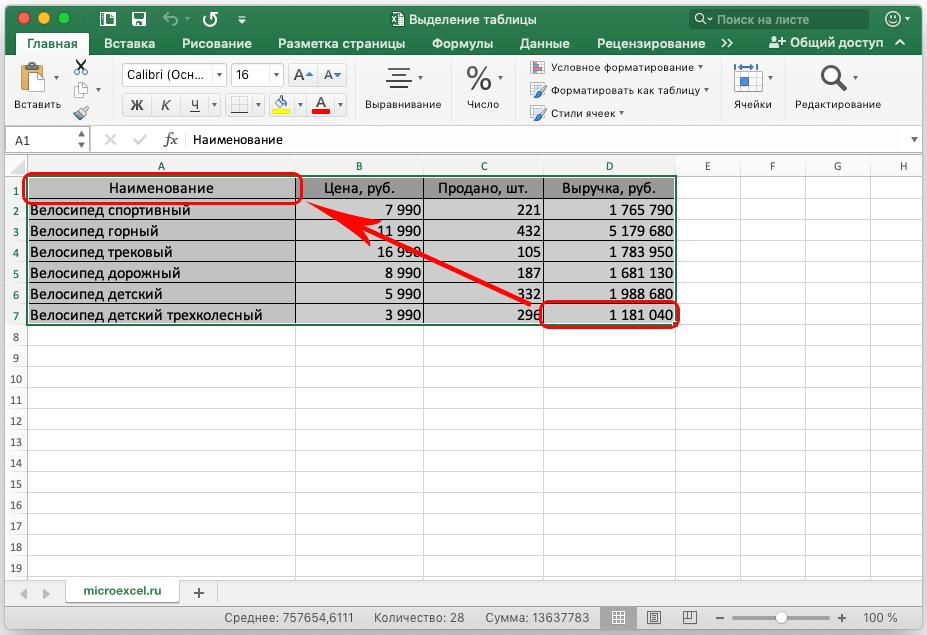 Как выделить таблицу в Excel. Три способа выделения таблицы в Эксель