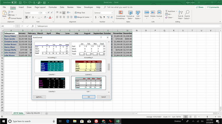 Автоформат в Excel